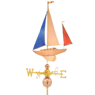 "Stained Glass Copper Yawl Weathervane  22.5""L x 25""H x 4""W"
