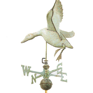 "Landing Duck Copper Weathervane  19""L x 17""H x 27"" Wingspan"